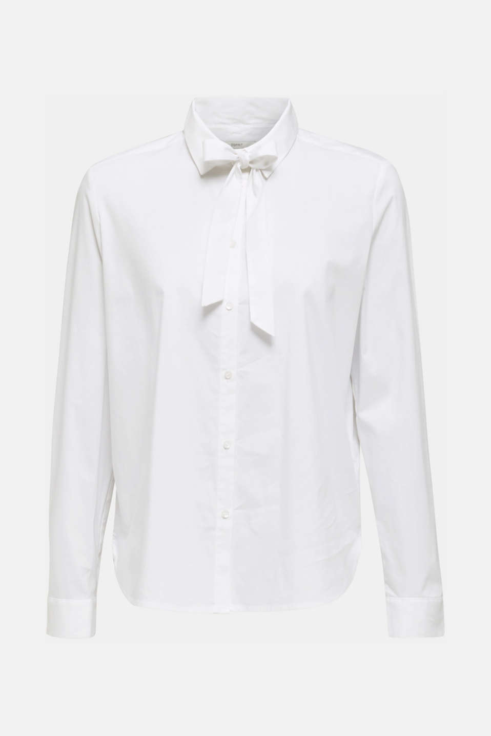 Stretch blouse with a pussycat bow, WHITE, detail image number 6