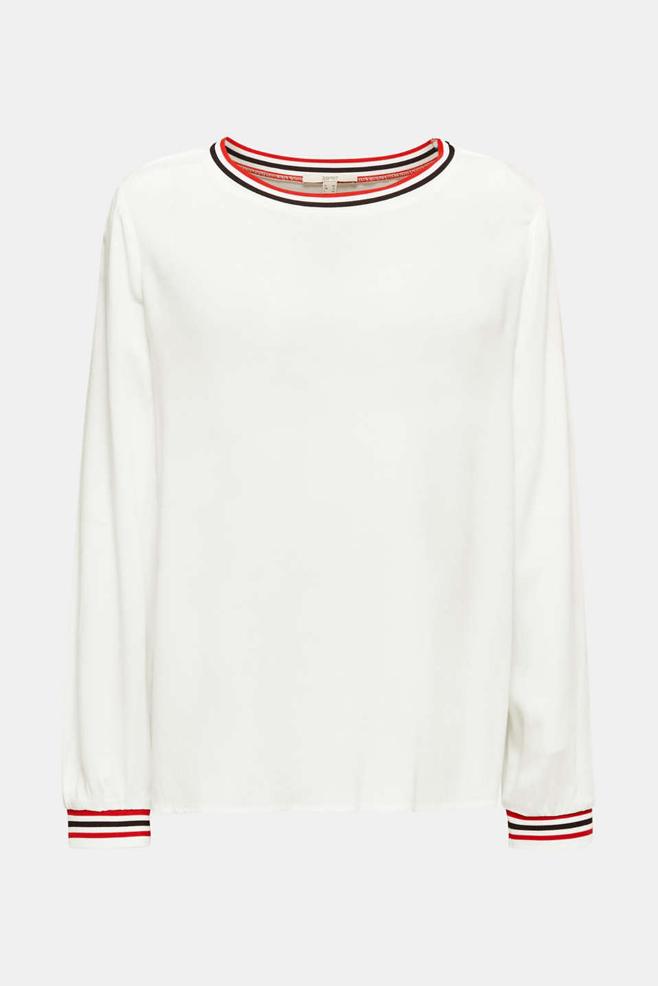 Long sleeve crêpe top with striped cuffs, OFF WHITE, detail image number 6