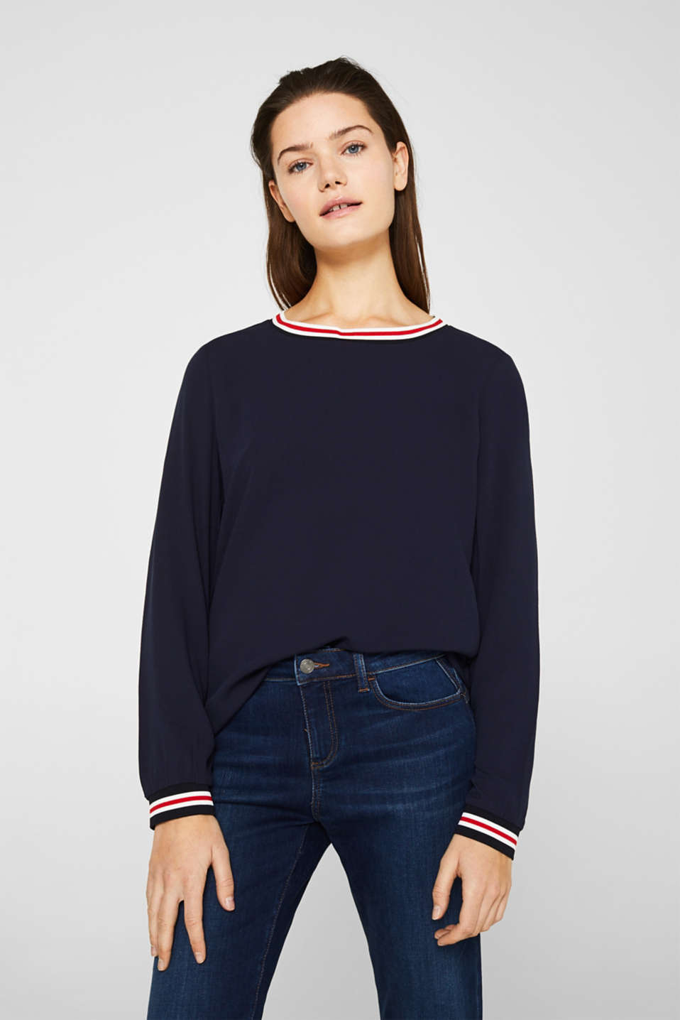 Esprit - Long sleeve crêpe top with striped cuffs
