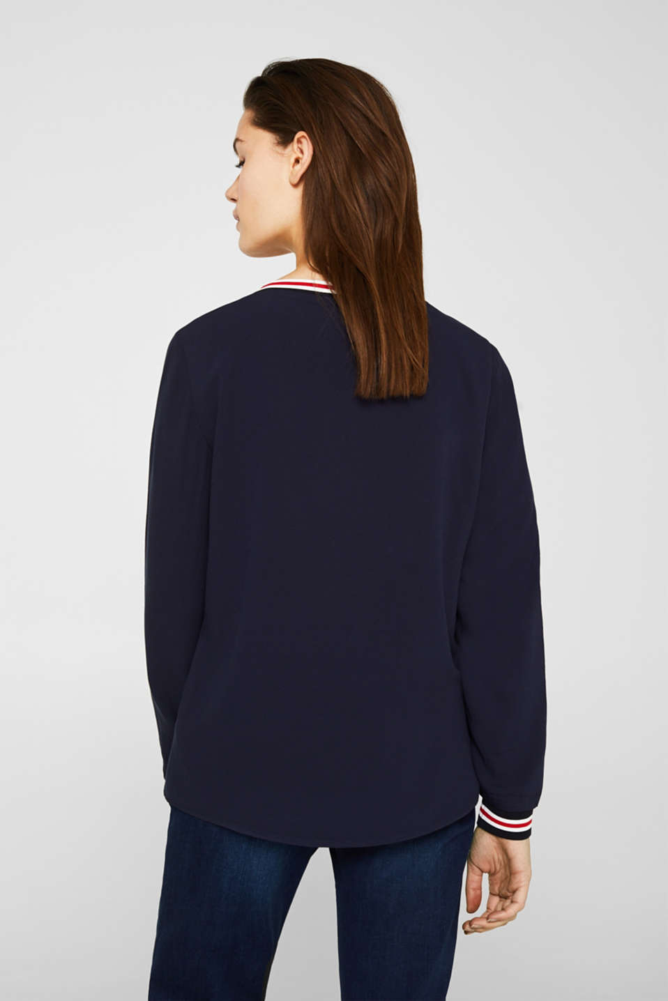 Long sleeve crêpe top with striped cuffs, NAVY, detail image number 3
