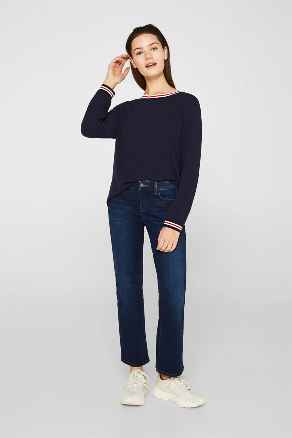 Long sleeve crêpe top with striped cuffs, NAVY, detail image number 5