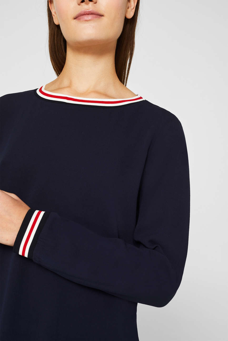 Long sleeve crêpe top with striped cuffs, NAVY, detail image number 2