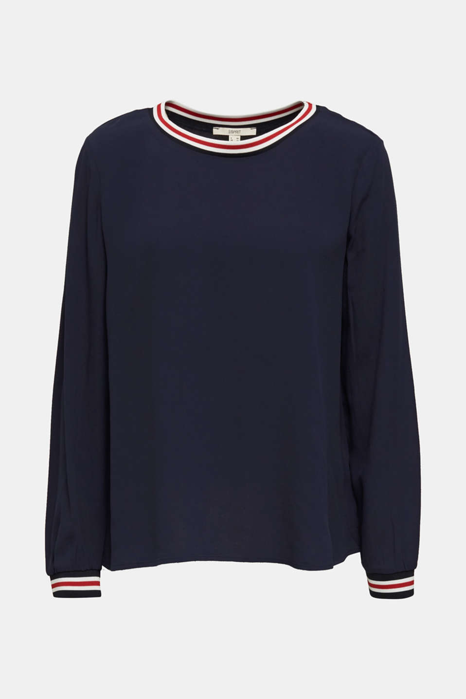 Long sleeve crêpe top with striped cuffs, NAVY, detail image number 6