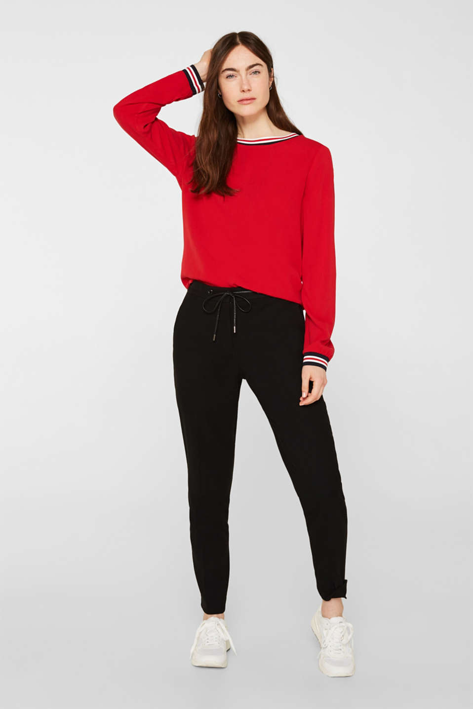 Long sleeve crêpe top with striped cuffs, DARK RED, detail