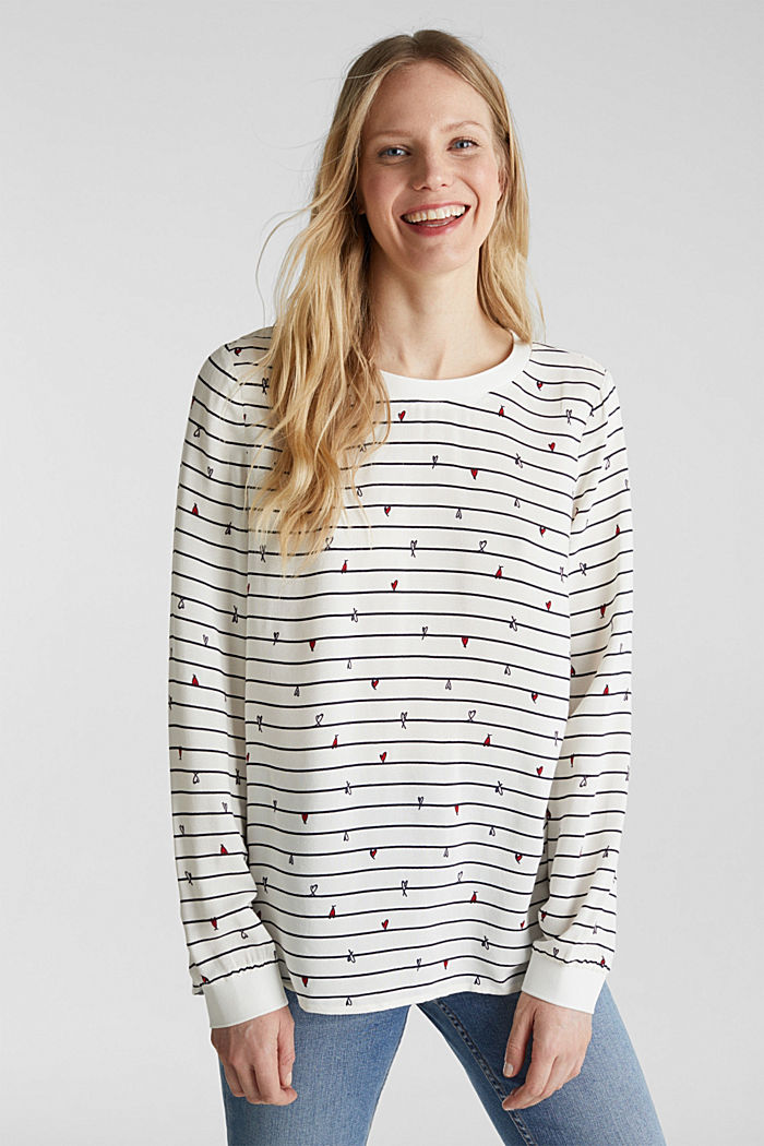 Blouse with ribbed borders, OFF WHITE, detail image number 0