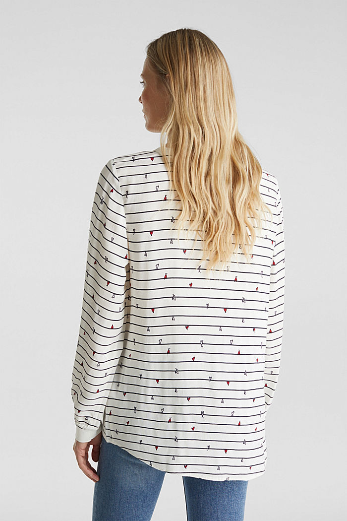 Blouse with ribbed borders, OFF WHITE, detail image number 3