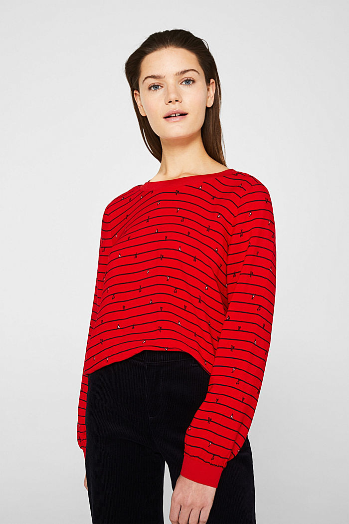 Blouse with ribbed borders, DARK RED, detail image number 0