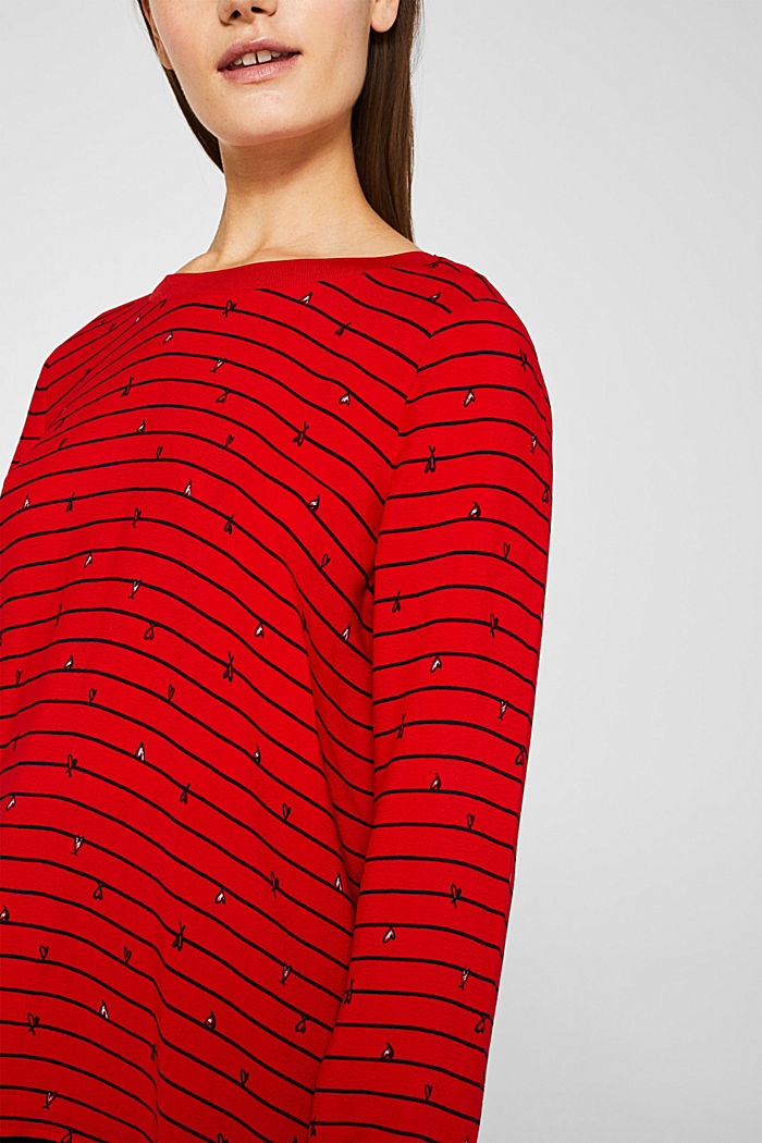 Blouse with ribbed borders, DARK RED, detail image number 2