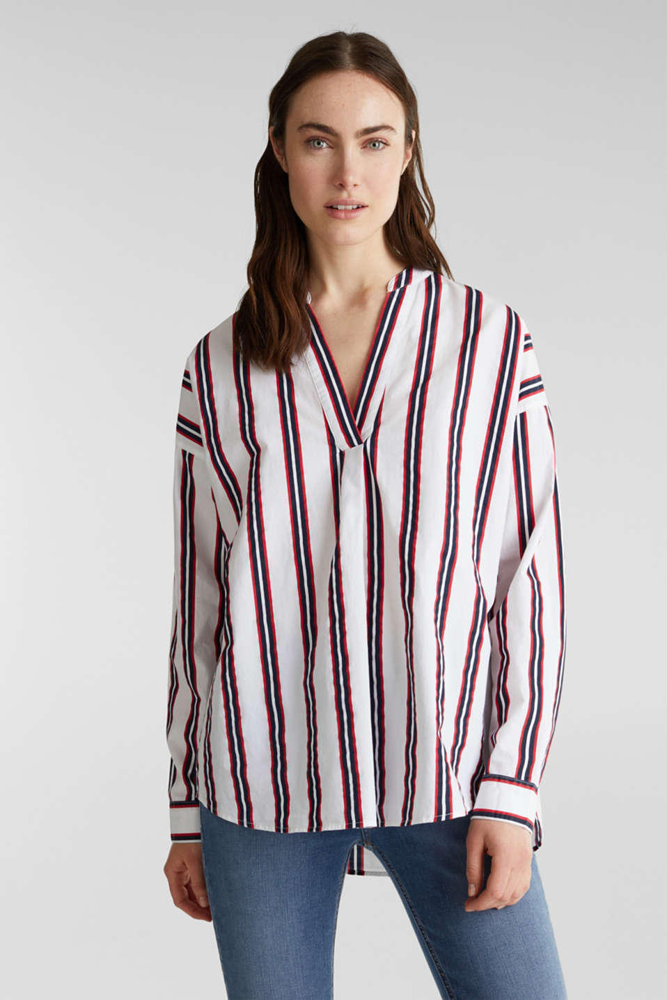 Esprit - Henley blouse with stripes, 100% cotton