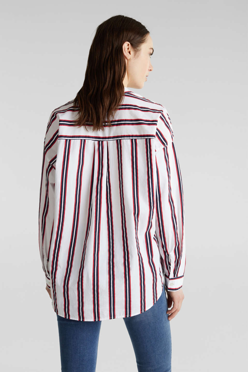 Henley blouse with stripes, 100% cotton, NAVY, detail image number 3