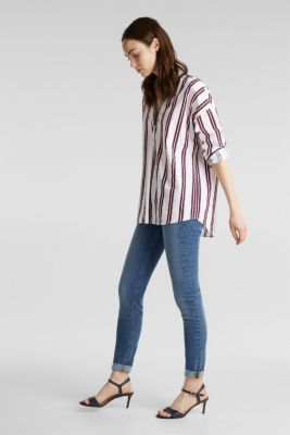 Henley blouse with stripes, 100% cotton, NAVY, detail