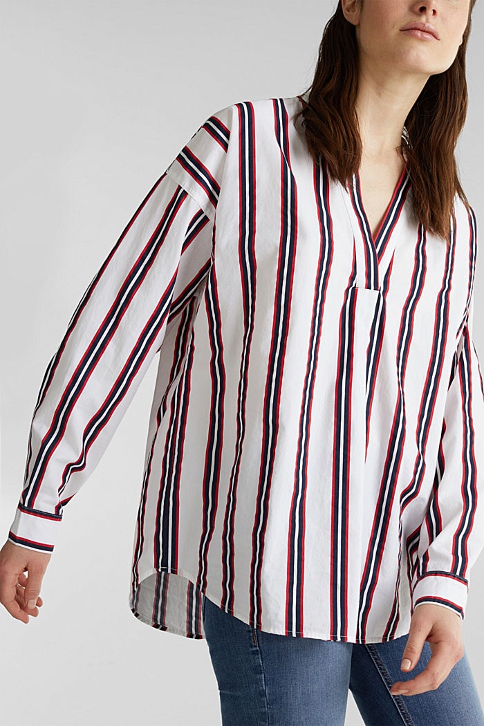 Henley blouse with stripes, 100% cotton, NAVY, detail image number 2