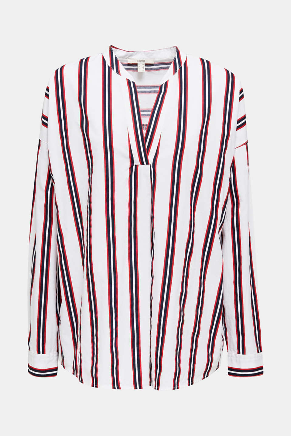 Henley blouse with stripes, 100% cotton, NAVY, detail image number 6