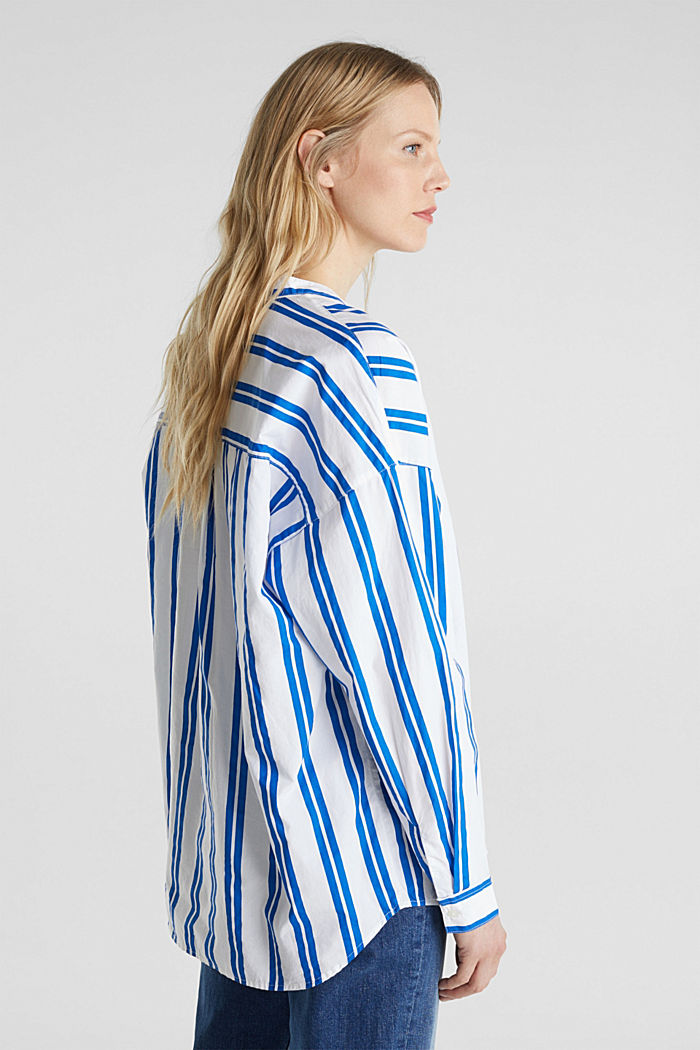 Henley blouse with stripes, 100% cotton, BRIGHT BLUE, detail image number 3