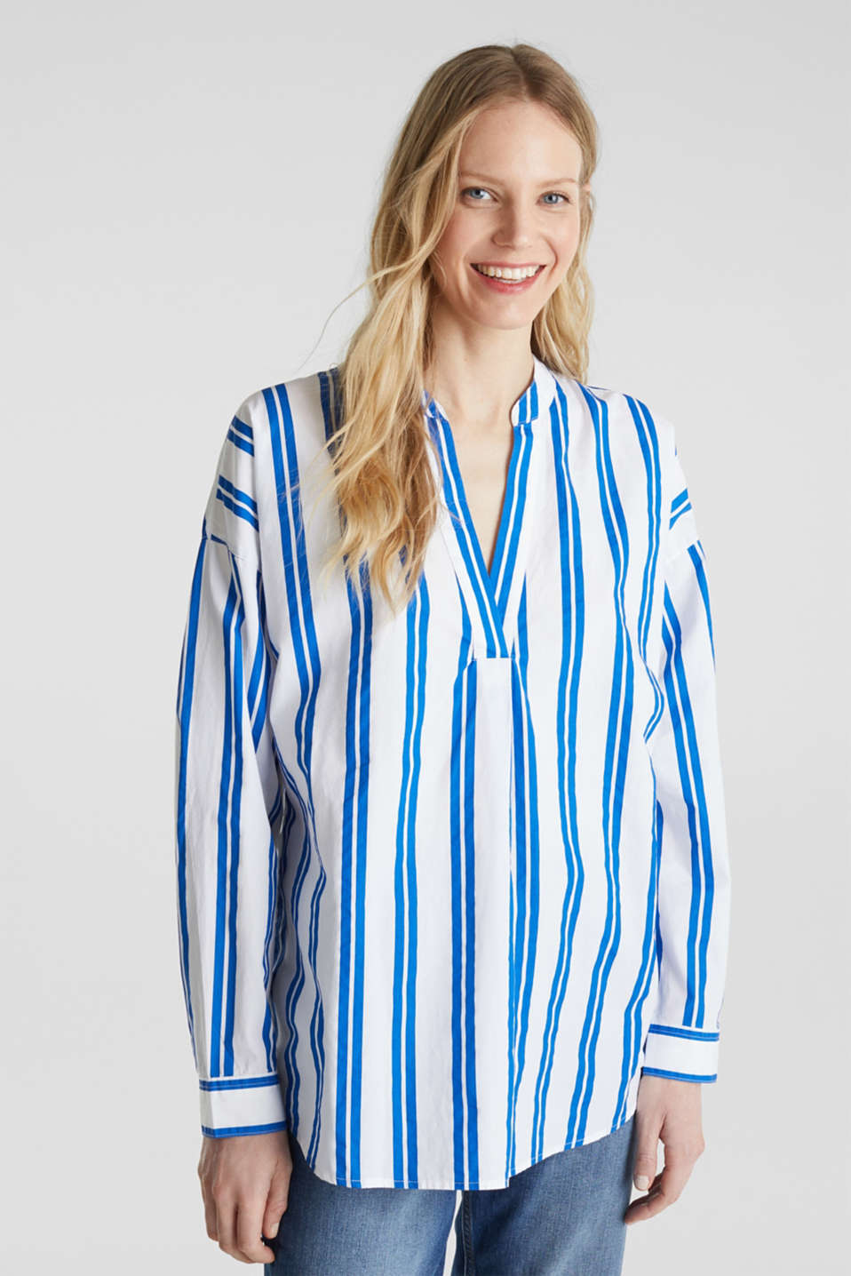 Henley blouse with stripes, 100% cotton, BRIGHT BLUE, detail image number 6