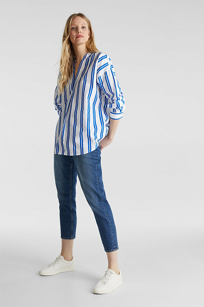 Henley blouse with stripes, 100% cotton, BRIGHT BLUE, detail image number 1