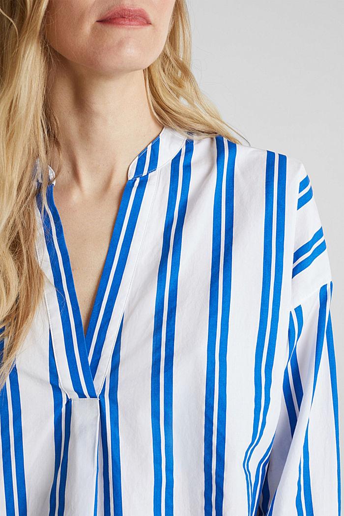 Henley-Bluse mit Streifen, 100% Baumwolle, BRIGHT BLUE, detail image number 2