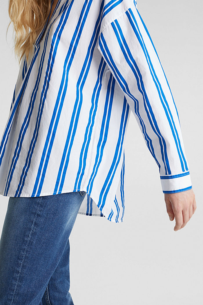 Henley blouse with stripes, 100% cotton, BRIGHT BLUE, detail image number 5