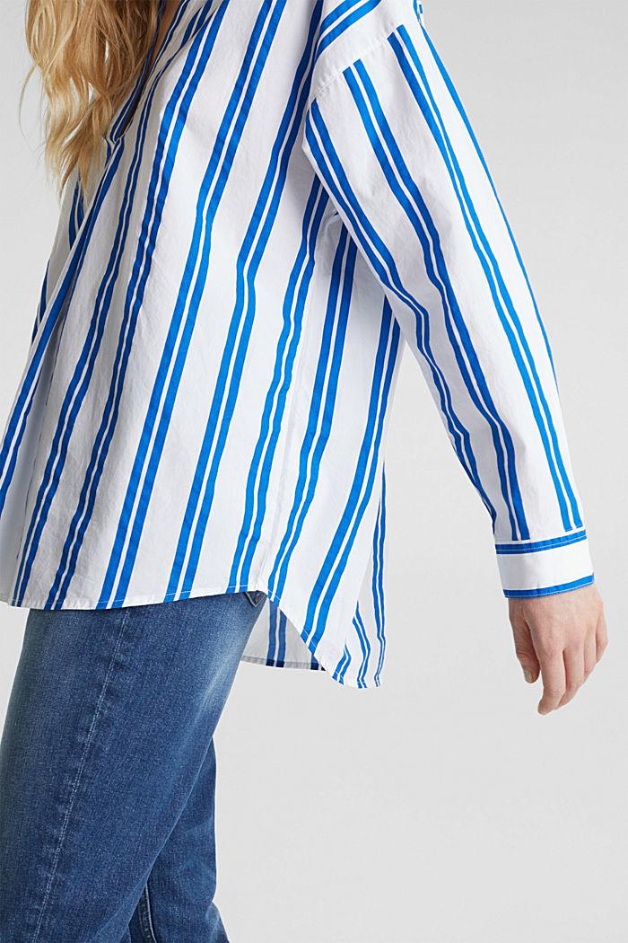 Henley-Bluse mit Streifen, 100% Baumwolle, BRIGHT BLUE, detail image number 5
