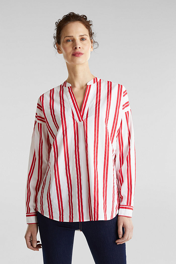 Henley blouse with stripes, 100% cotton, RED, detail image number 0