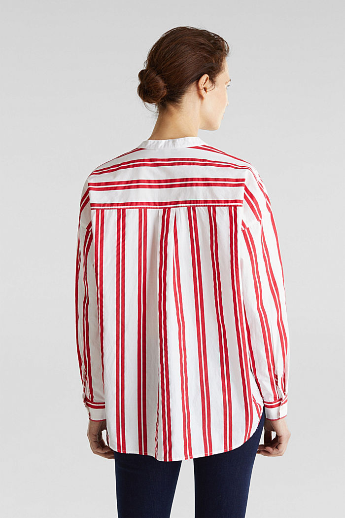 Henley blouse with stripes, 100% cotton, RED, detail image number 2