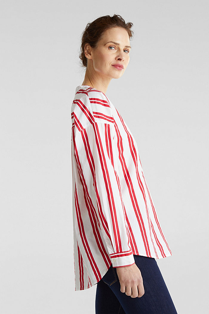 Henley blouse with stripes, 100% cotton, RED, detail image number 4