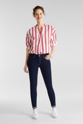 Henley blouse with stripes, 100% cotton, RED, detail