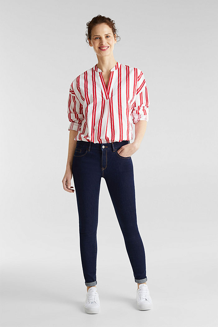 Henley blouse with stripes, 100% cotton, RED, detail image number 1