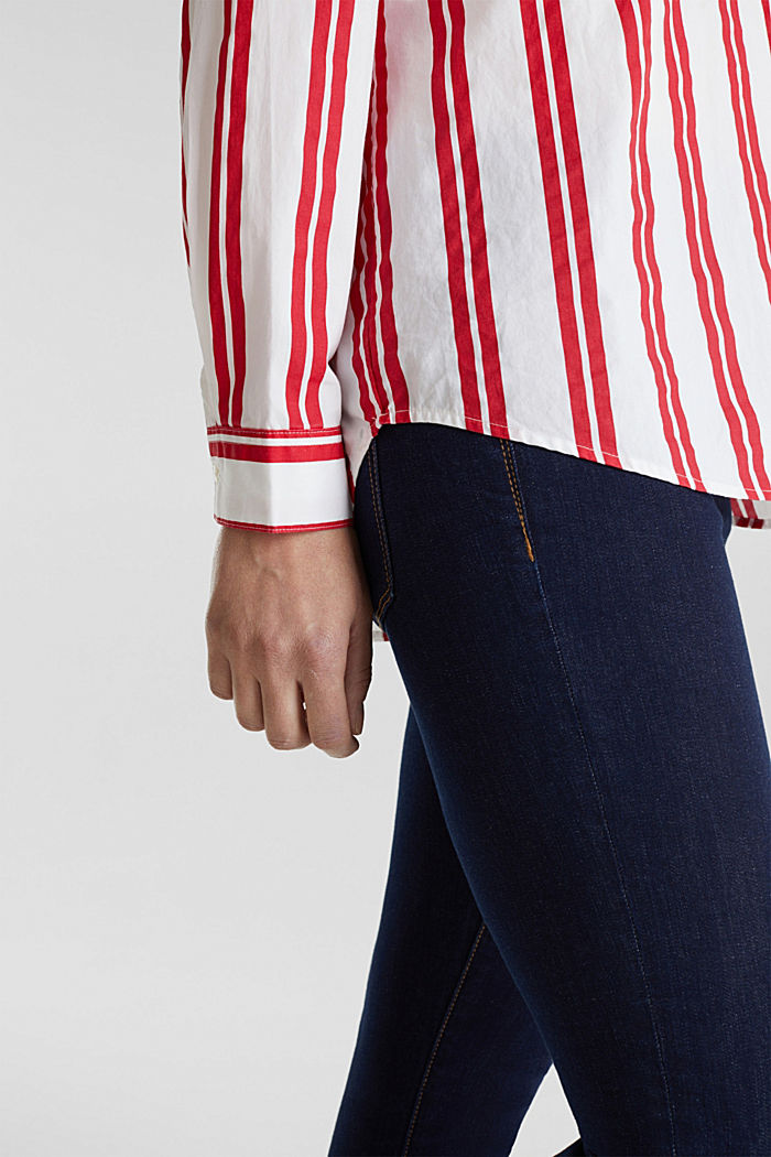 Henley blouse with stripes, 100% cotton, RED, detail image number 5