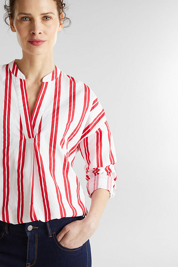 Henley blouse with stripes, 100% cotton, RED, detail image number 6