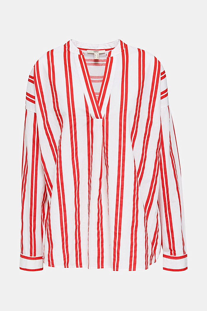 Henley blouse with stripes, 100% cotton, RED, detail image number 7
