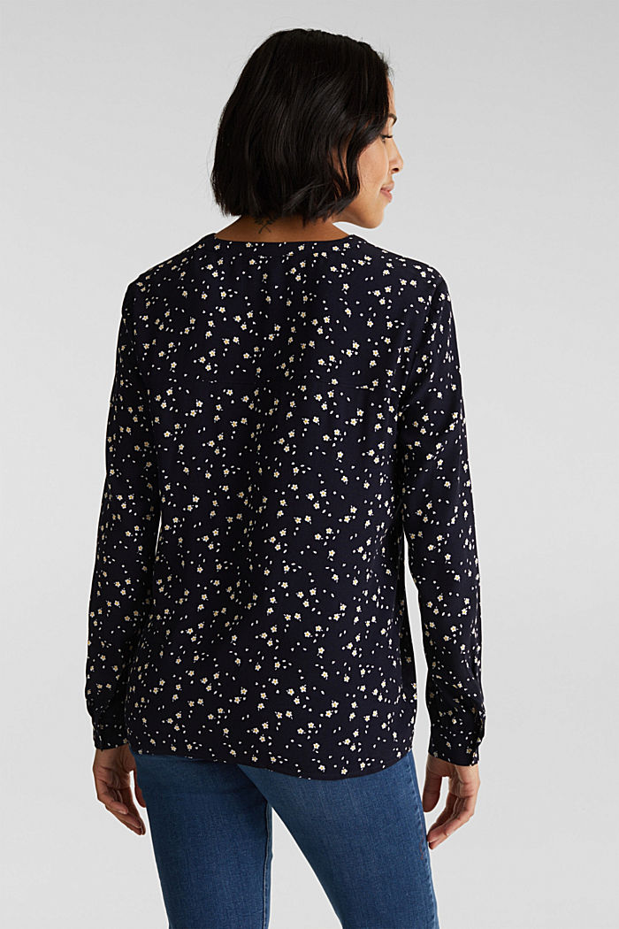 Crêpe blouse with a round neckline, NAVY, detail image number 2