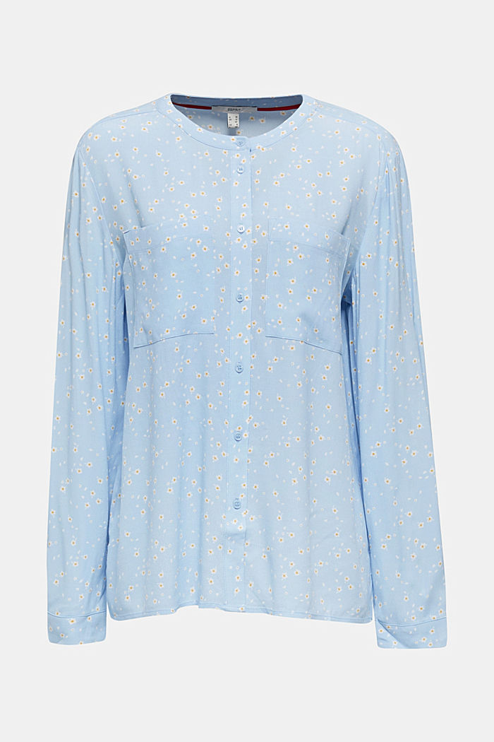 Crêpe blouse with a round neckline, LIGHT BLUE, detail image number 5