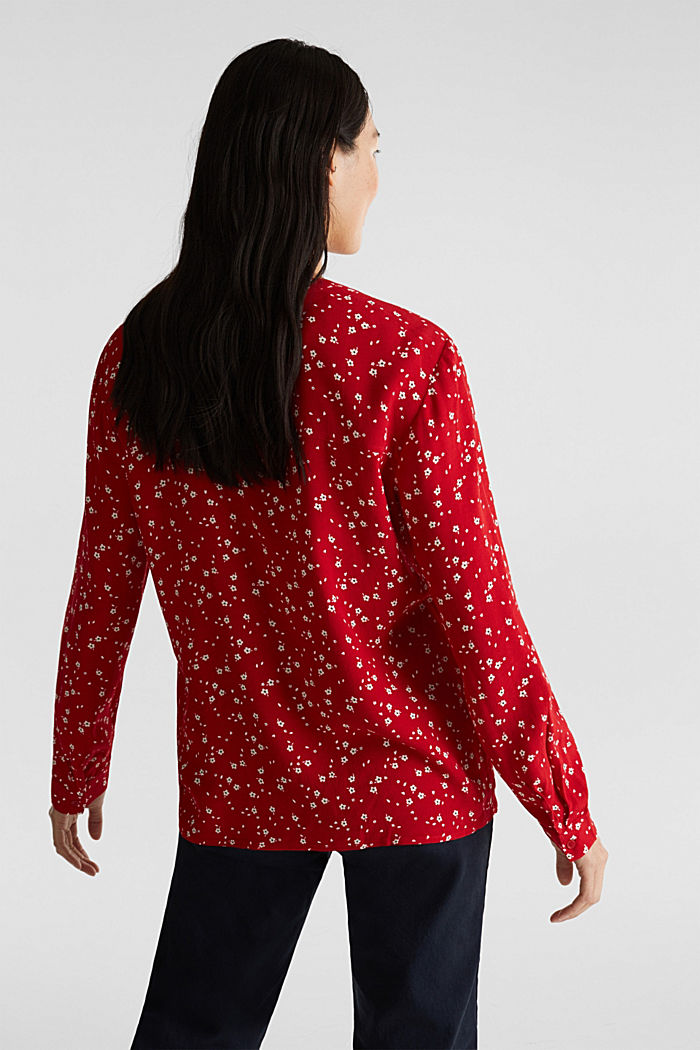Crêpe blouse with a round neckline, RED, detail image number 3