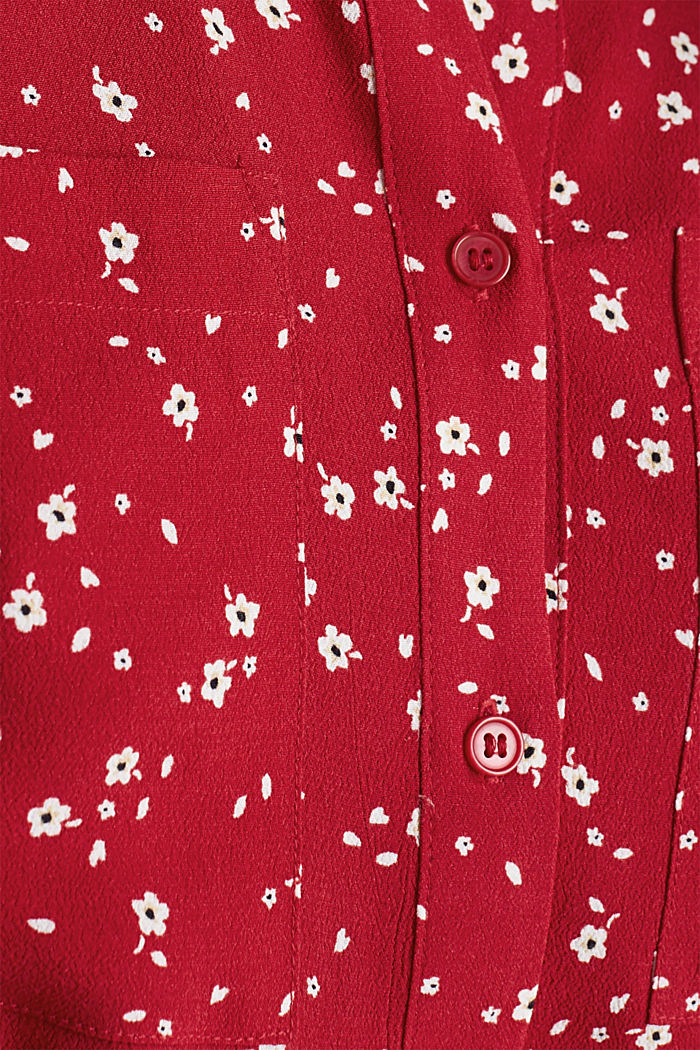 Crêpe blouse with a round neckline, RED, detail image number 4