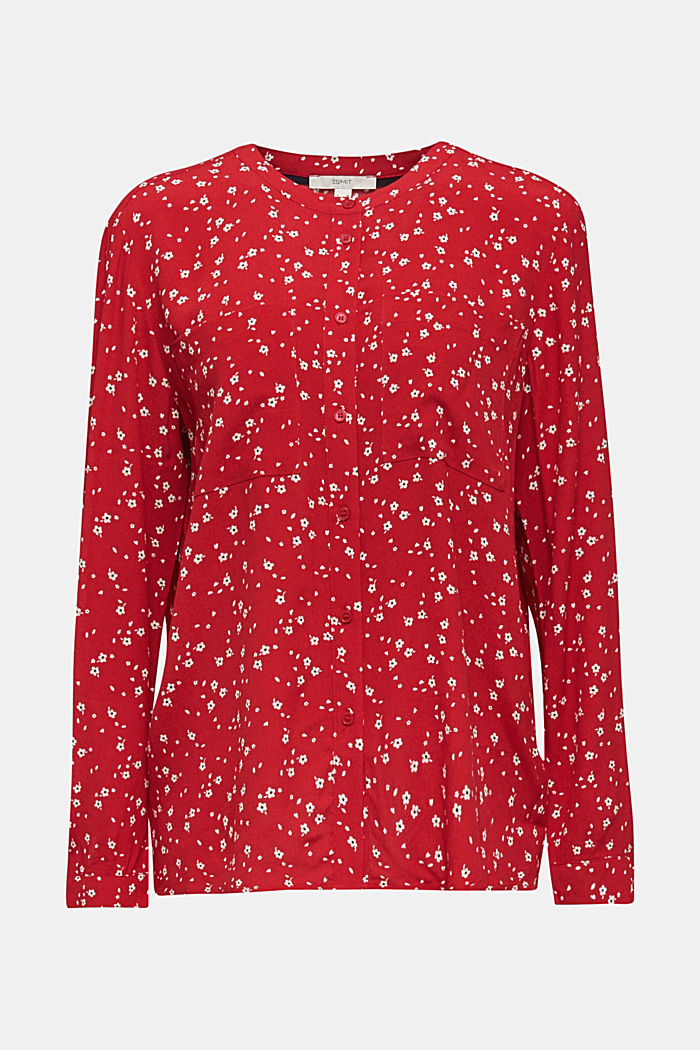 Crêpe blouse with a round neckline, RED, detail image number 7