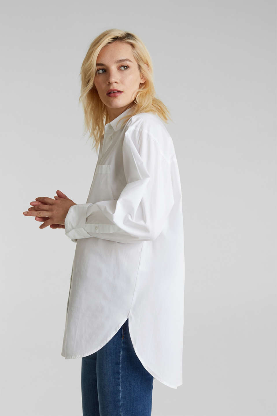 Shirt blouse in an oversized style, 100% cotton, WHITE, detail image number 0