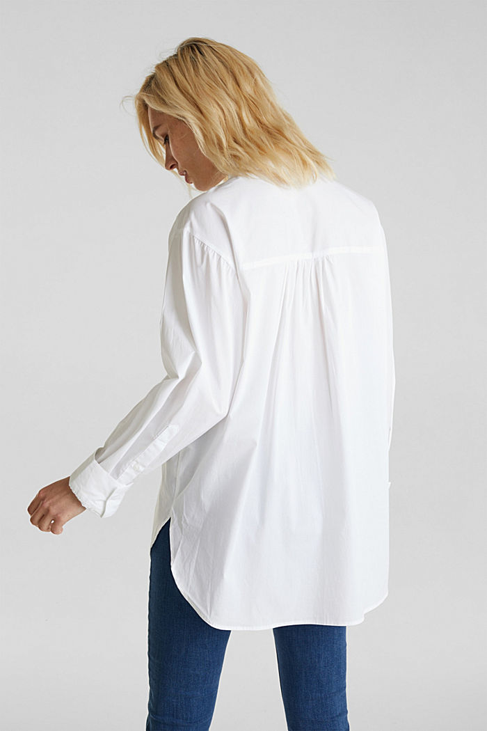 Overhemdblouse in oversized stijl, 100% katoen, WHITE, detail image number 3