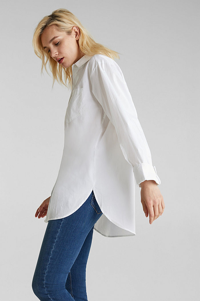 Overhemdblouse in oversized stijl, 100% katoen, WHITE, detail image number 4