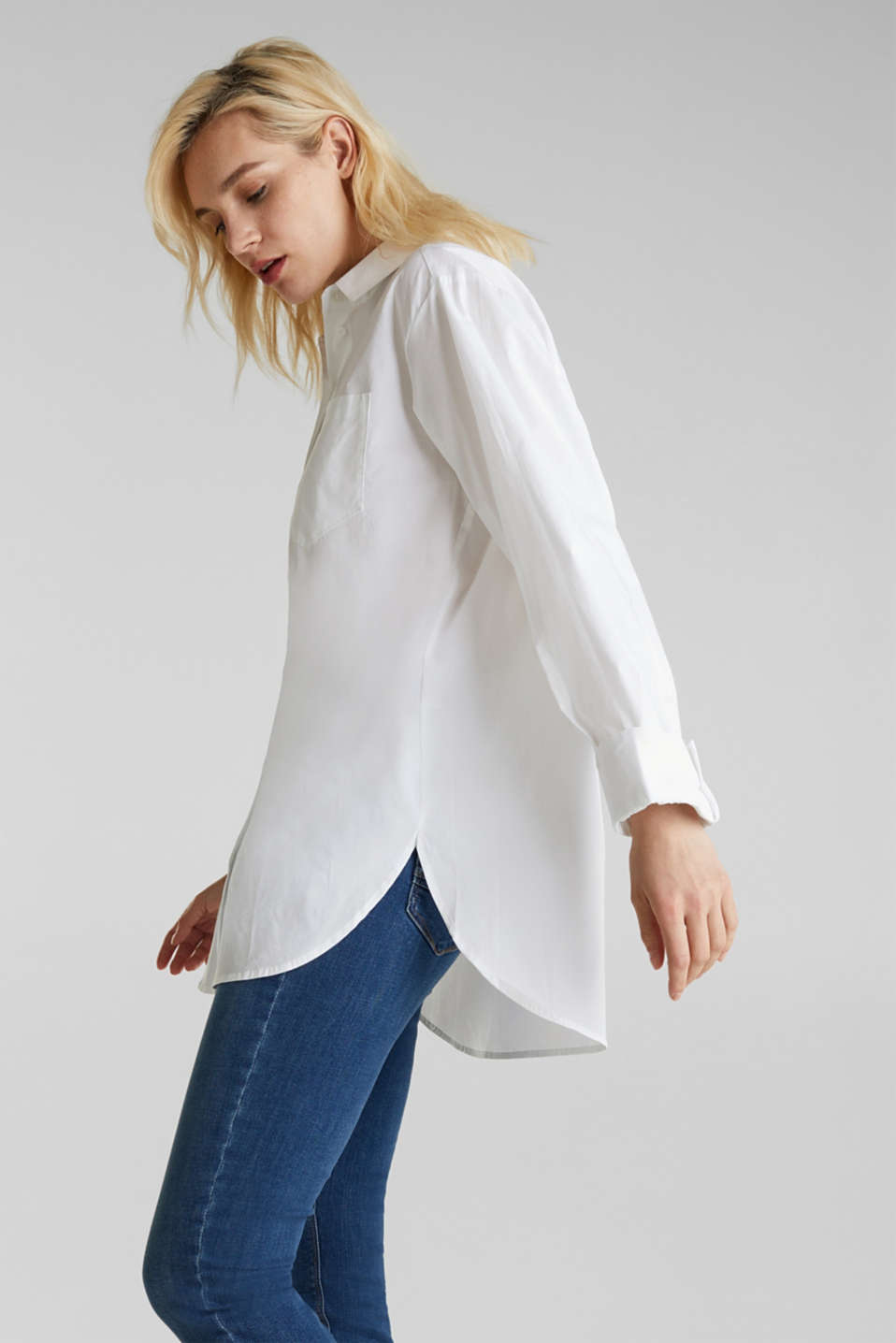 Shirt blouse in an oversized style, 100% cotton, WHITE, detail image number 4