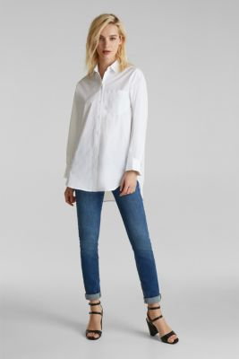 Shirt blouse in an oversized style, 100% cotton, WHITE, detail