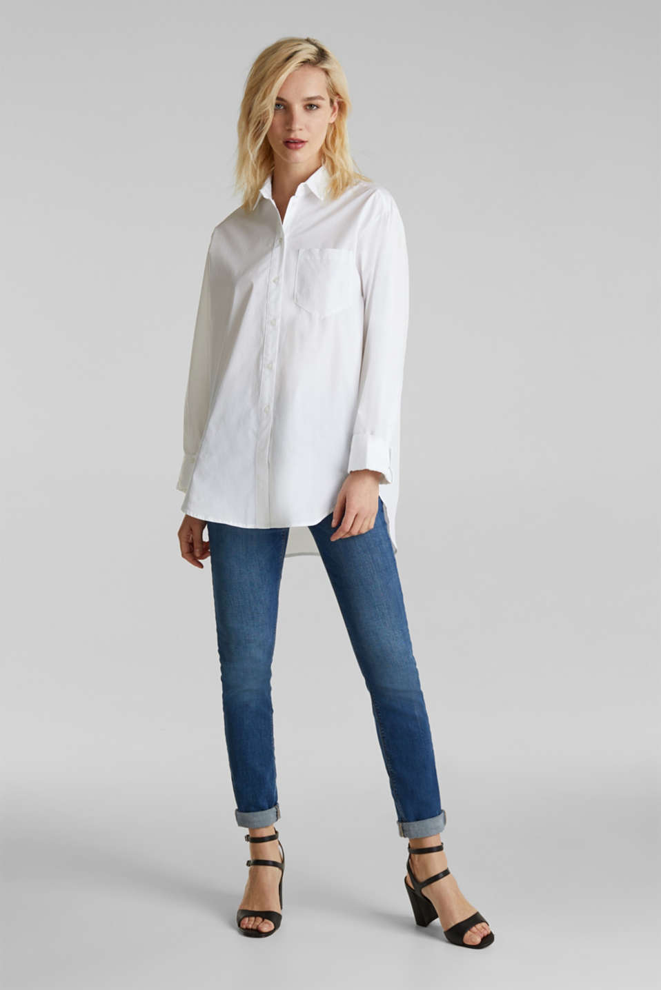 Shirt blouse in an oversized style, 100% cotton, WHITE, detail image number 1