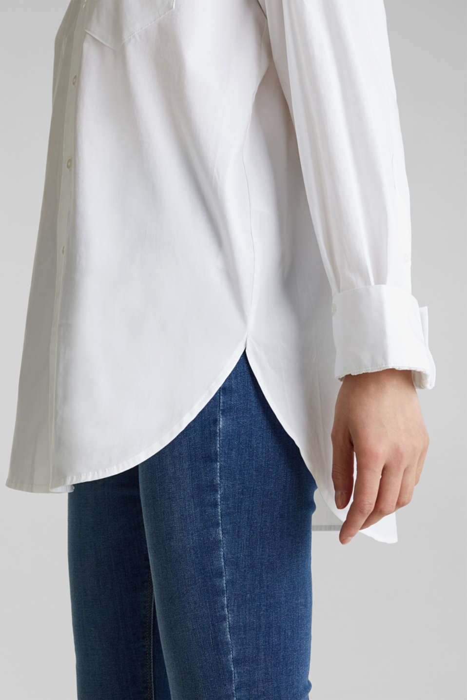 Shirt blouse in an oversized style, 100% cotton, WHITE, detail image number 5