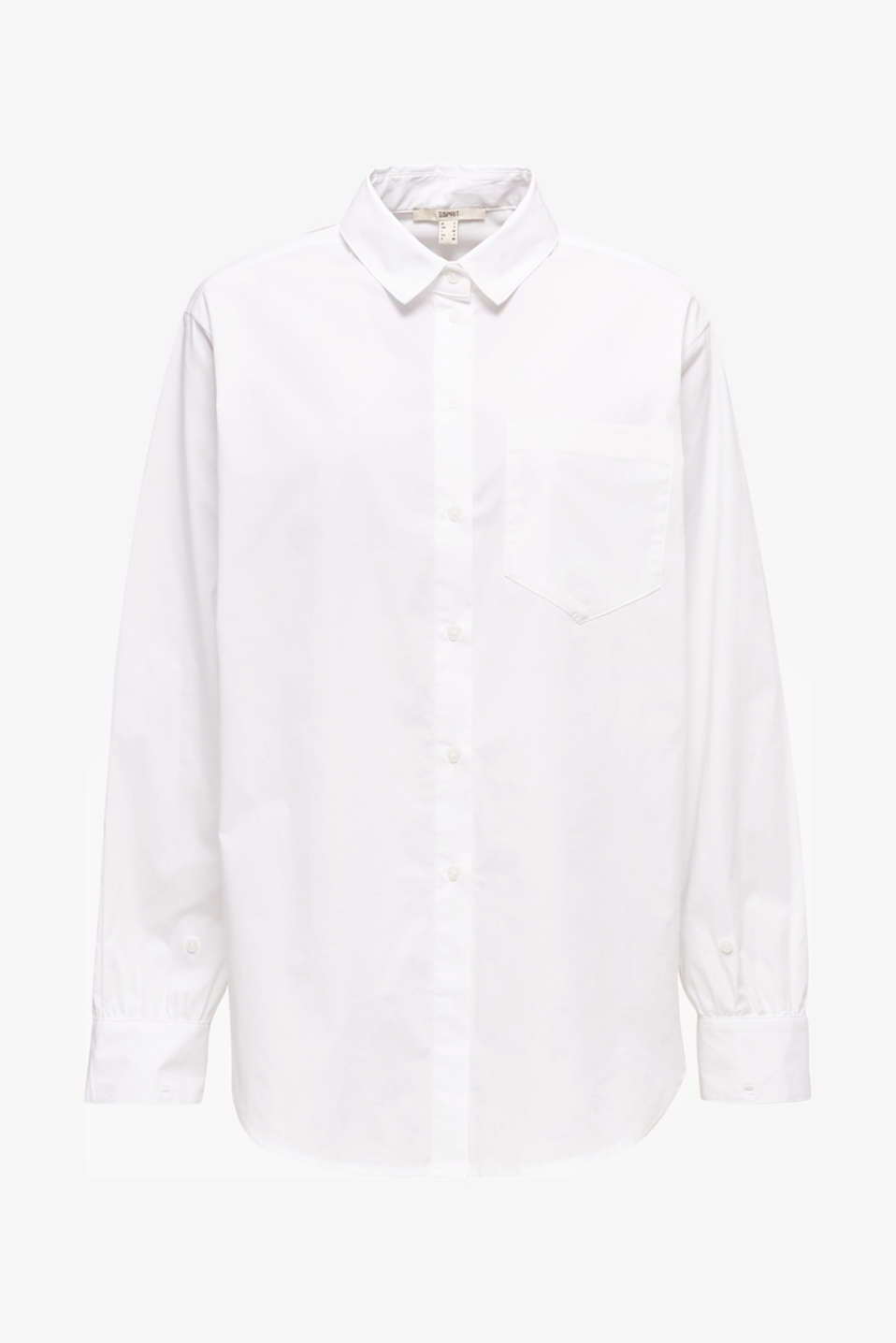 Shirt blouse in an oversized style, 100% cotton, WHITE, detail image number 6