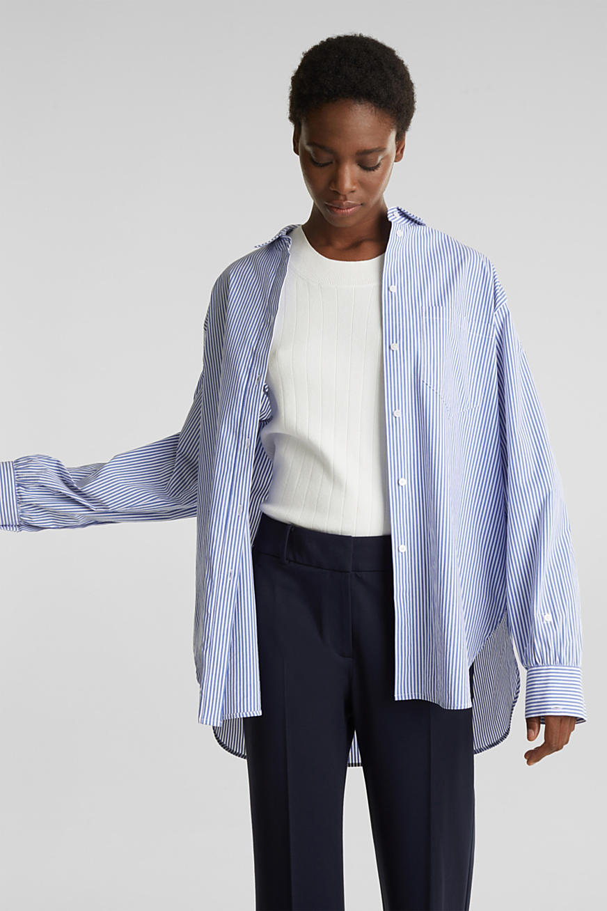 Oversized blouse with wide turn-up cuffs