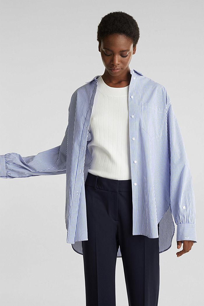 Oversized-Bluse mit breiten Turn-up-Manschetten, LIGHT BLUE, detail image number 0