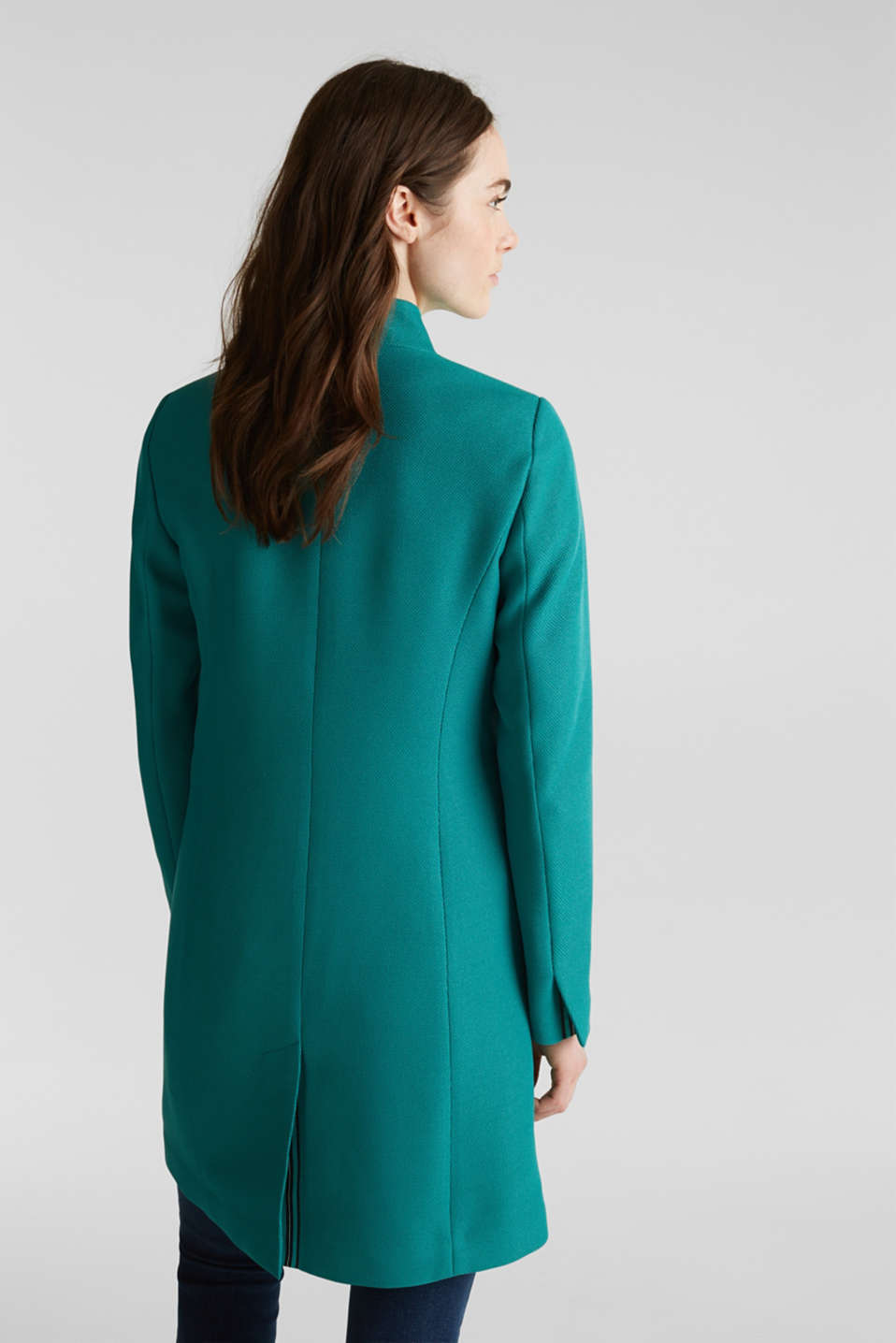 Piqué coat with stretch, TEAL GREEN, detail image number 3