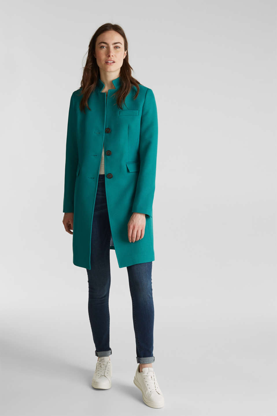 Piqué coat with stretch, TEAL GREEN, detail image number 1
