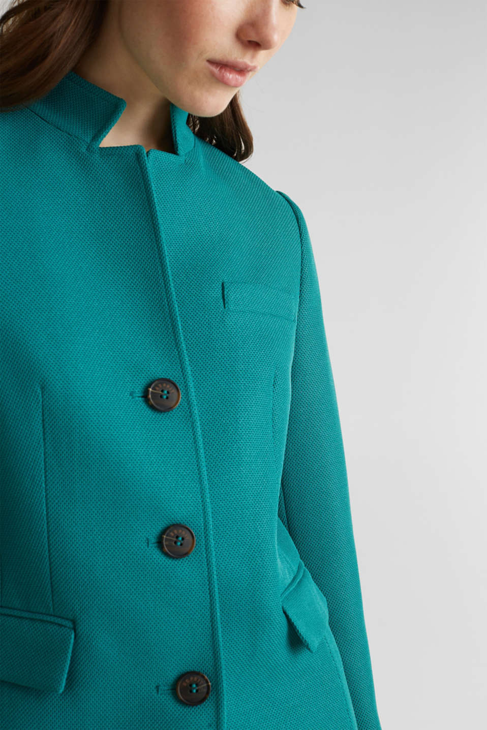 Piqué coat with stretch, TEAL GREEN, detail image number 2