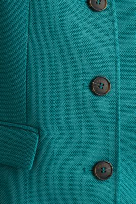 Piqué coat with stretch, TEAL GREEN, detail